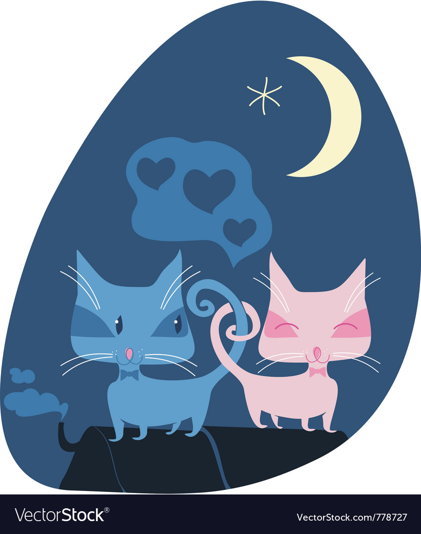 Cats on roof vector