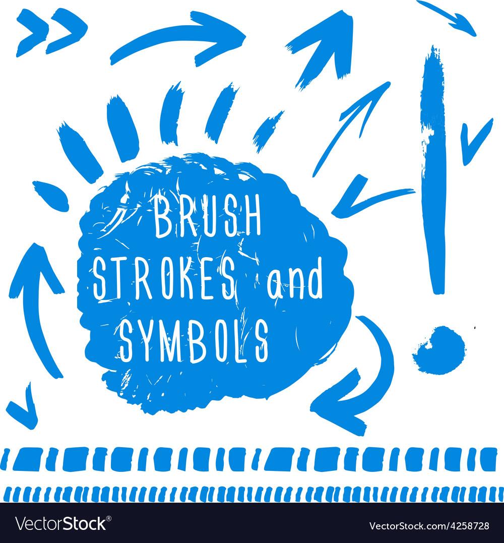Brush strokes and simbols vector