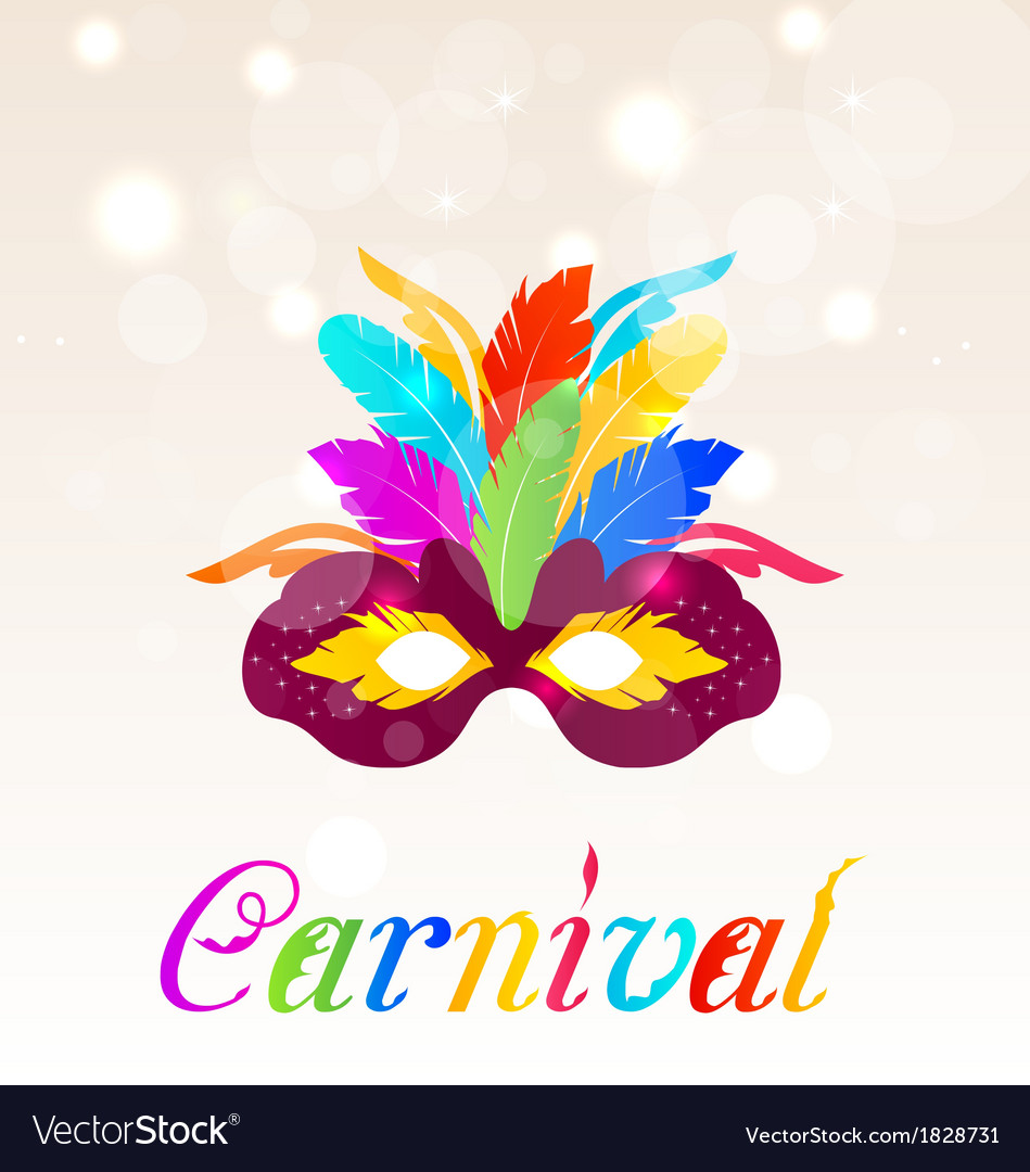 Colorful carnival mask with feathers with text vector
