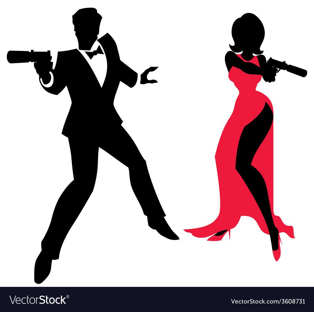 Spy couple vector
