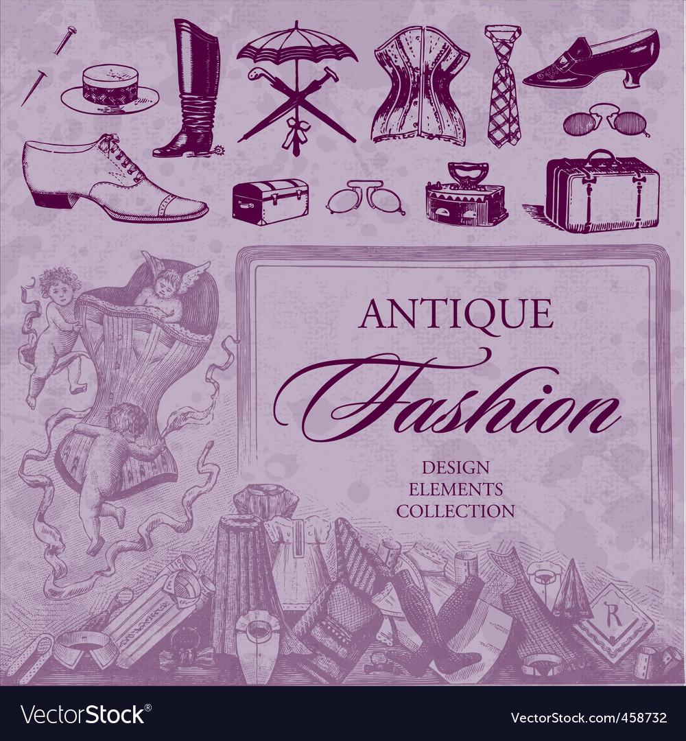 Fashion antique set vector