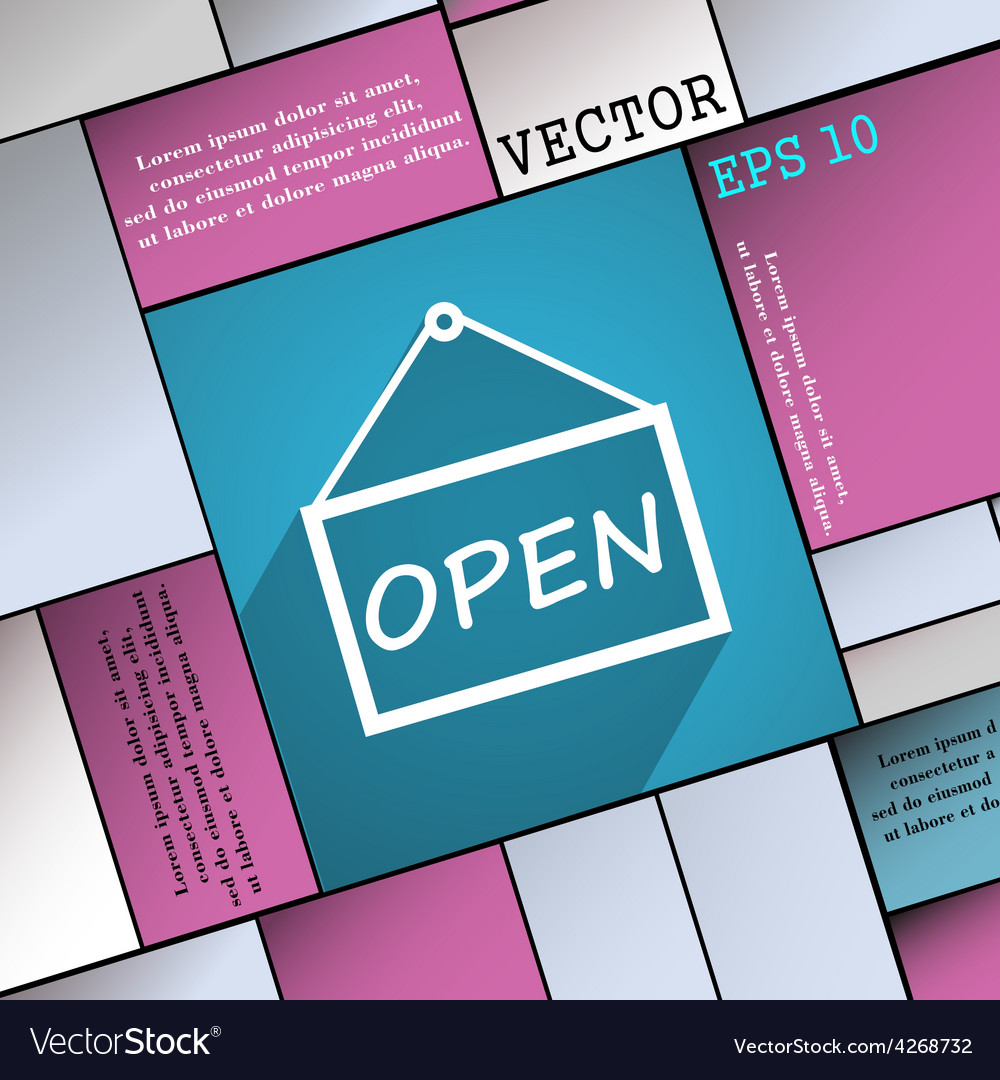 Open icon symbol flat modern web design with long vector