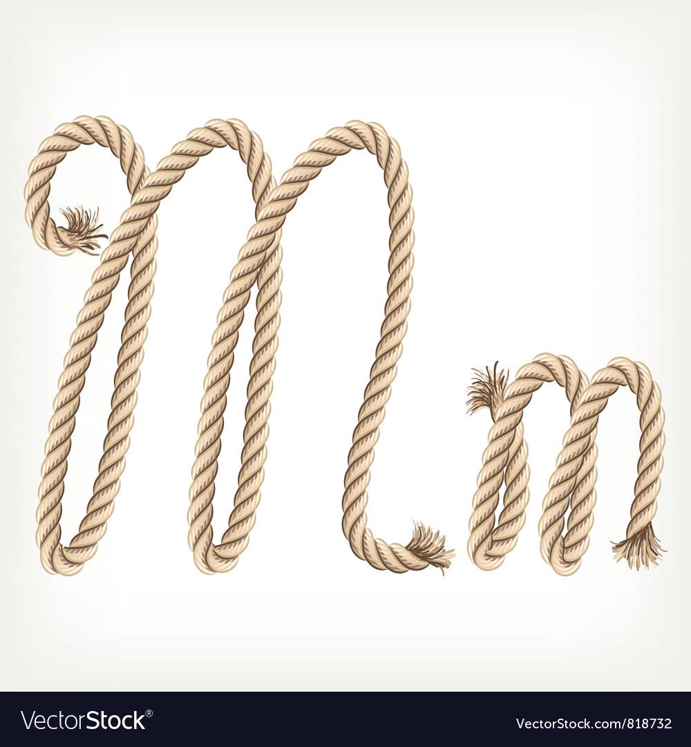 Rope alphabet letter m vector
