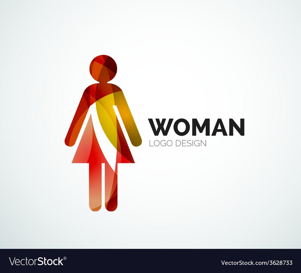 Color abstract logo woman icon vector