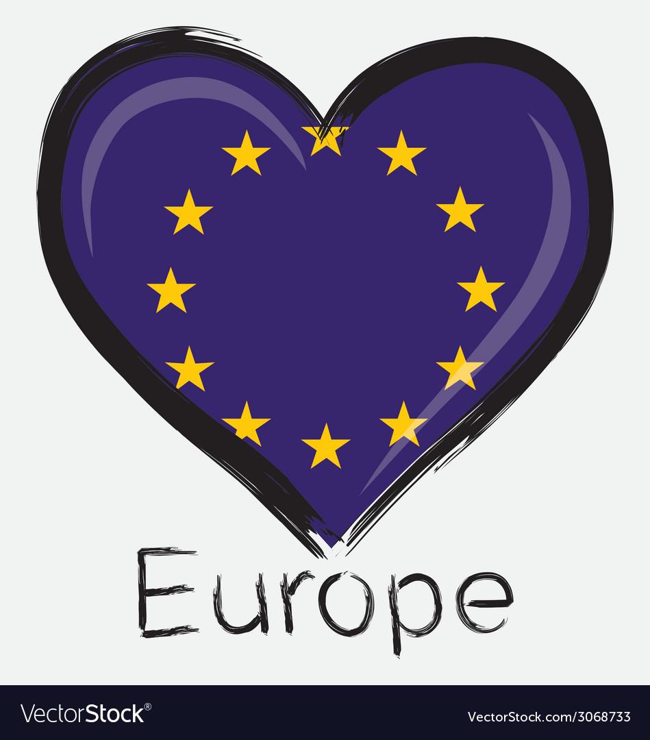 Love europe flag vector