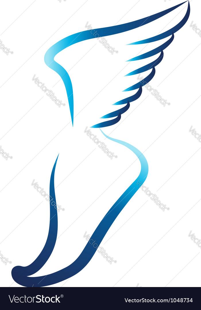 Flying foot logo vector