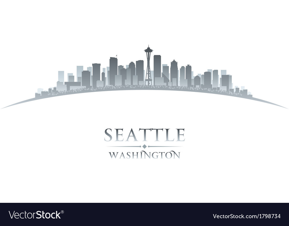 Seattle washington city skyline silhouette vector
