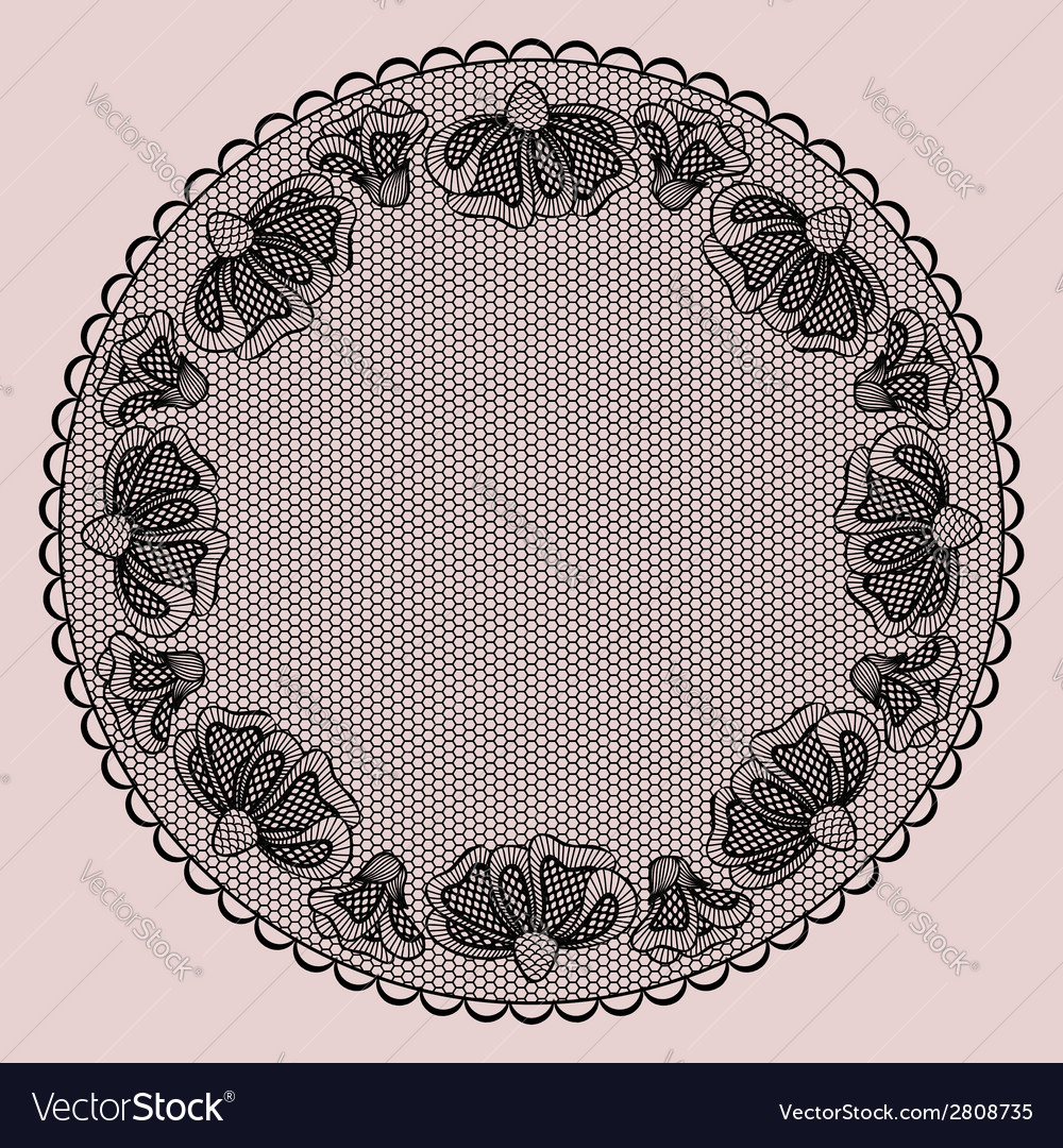 Round black lacy frame on pink background vector