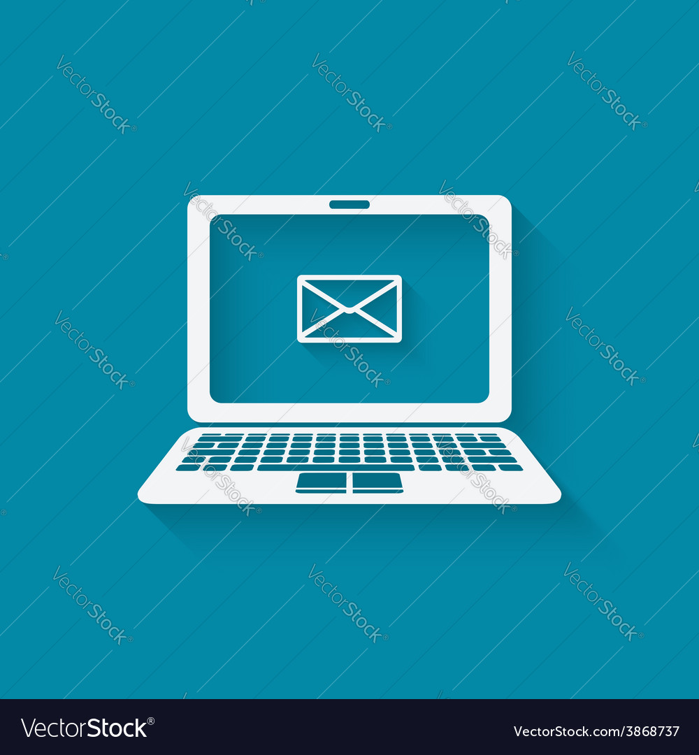 E-mail symbol on laptop vector