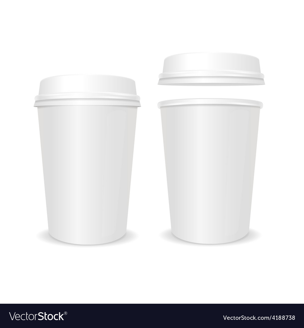 Empty coffee paper cup with lid set vector