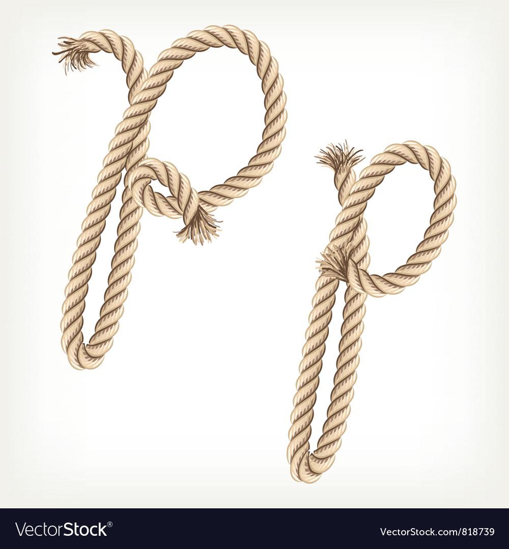Rope alphabet letter p vector