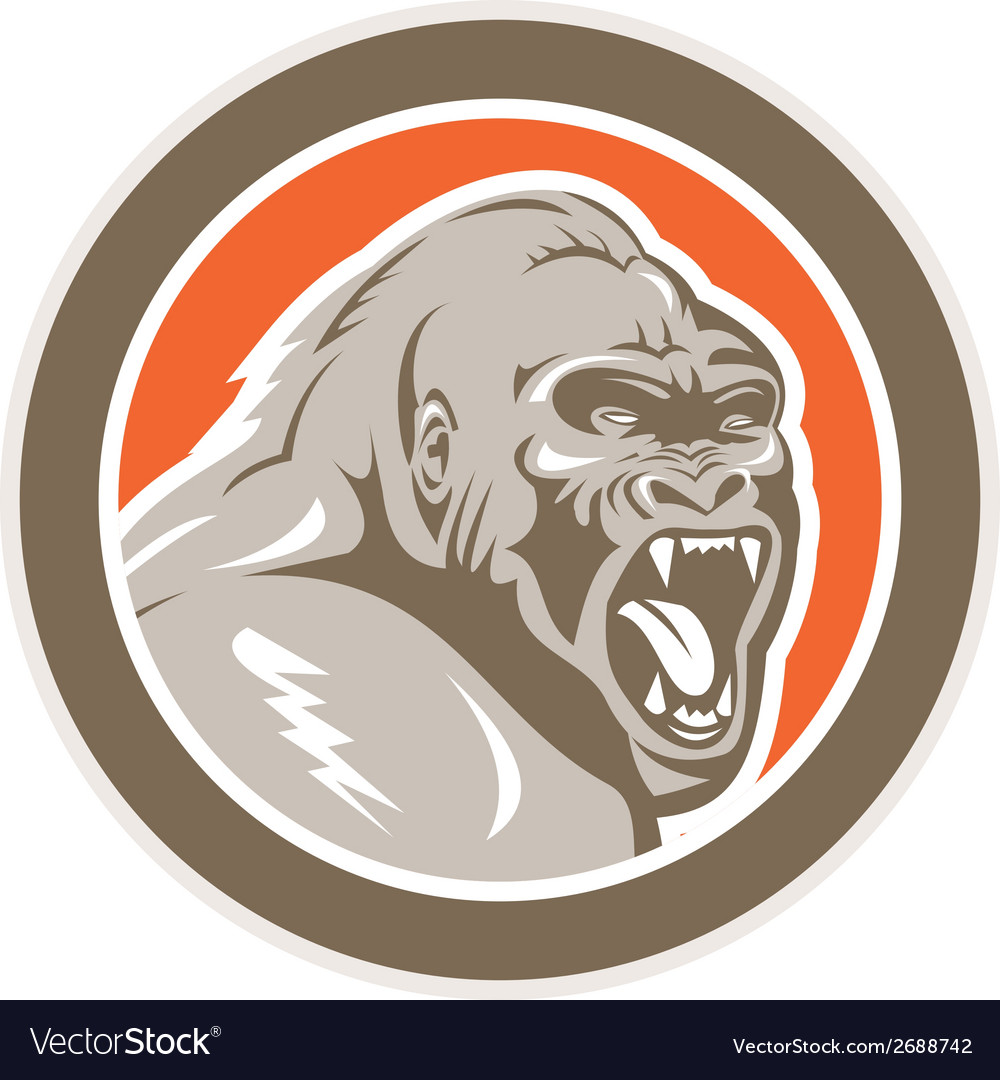 Angry gorilla head circle retro vector