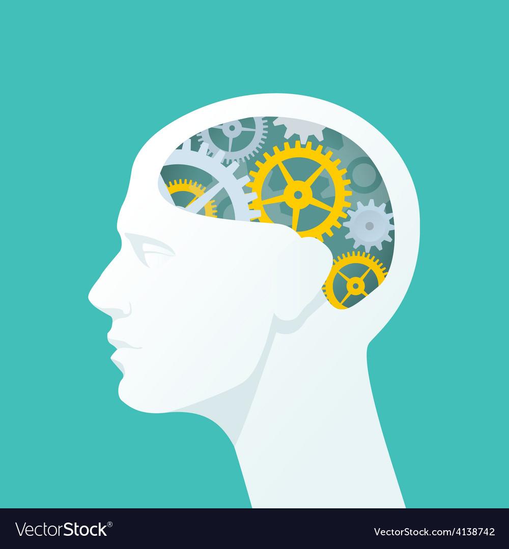 Human head with gears head thinking vector