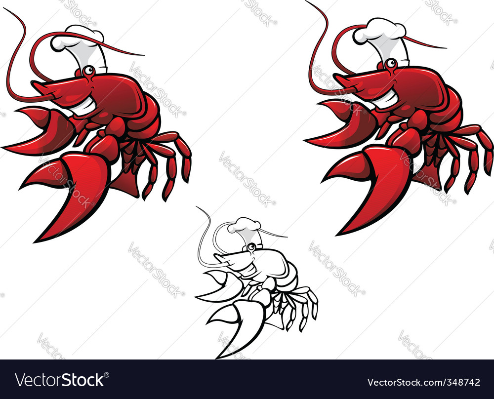 Smiling crayfish chef vector
