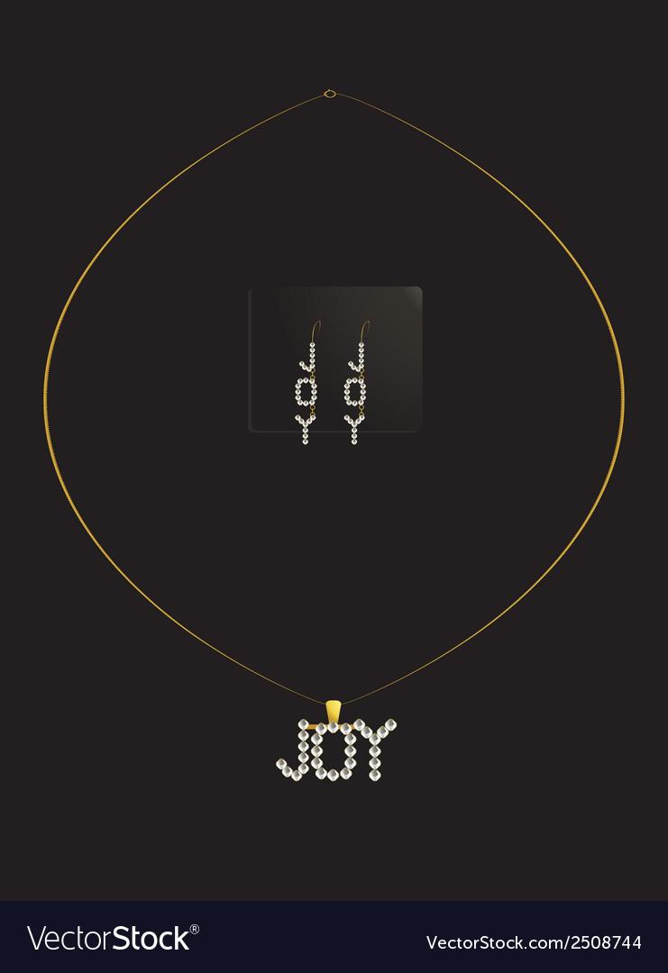Gold and diamond joy necklace set vector