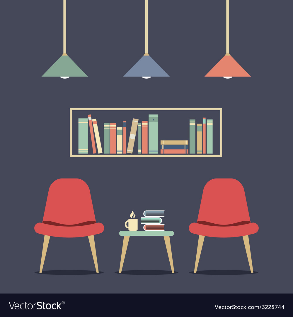 Modern design interior chair and bookshelf vector