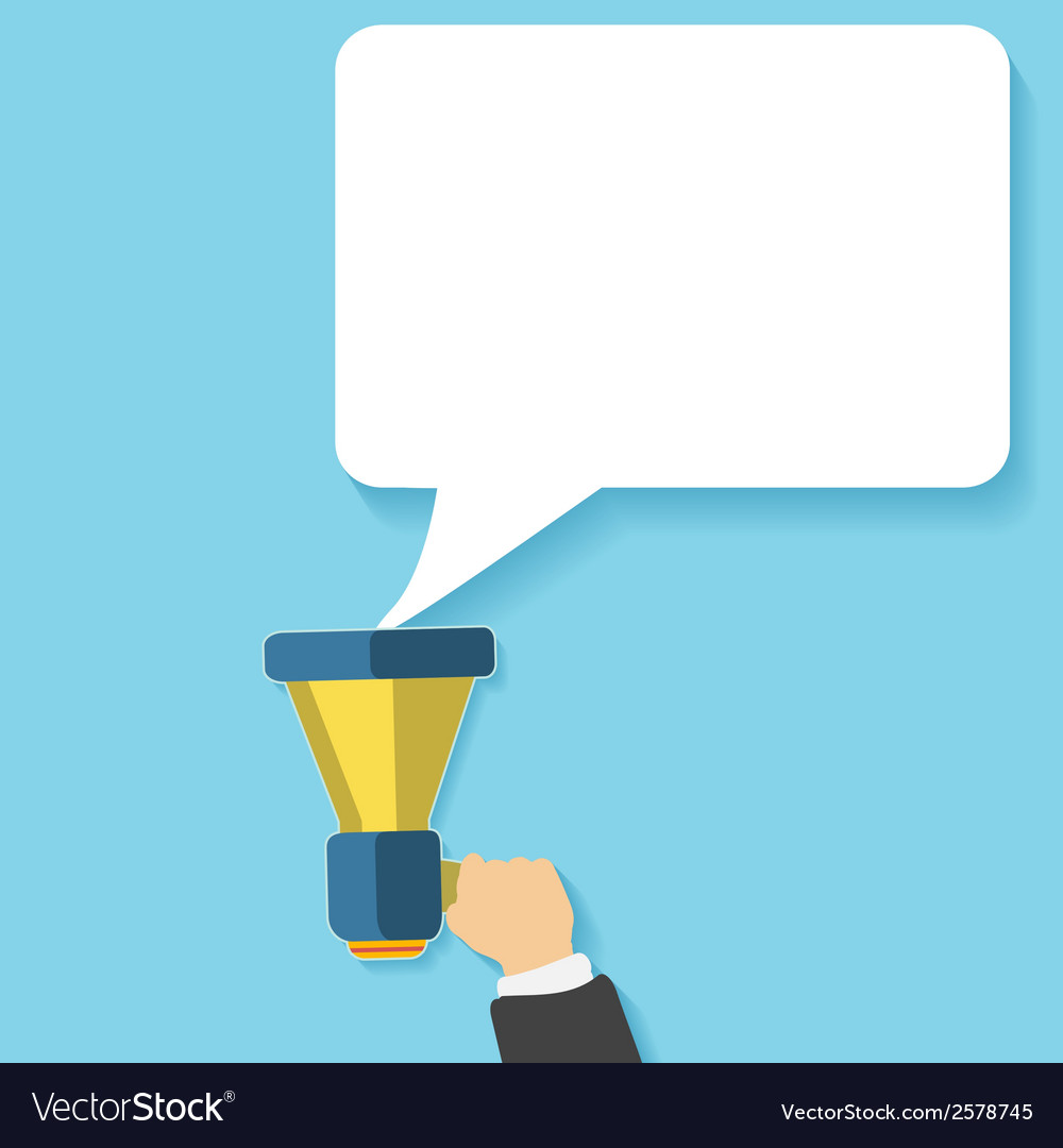 Hand holding a yellow megaphone with bubble vector