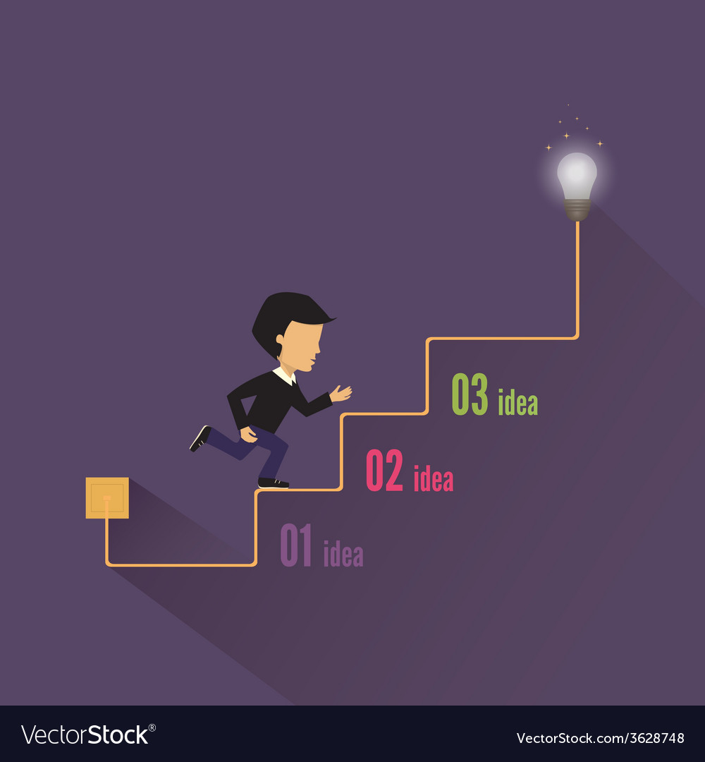 Businessman walking up stairs stairway to success vector