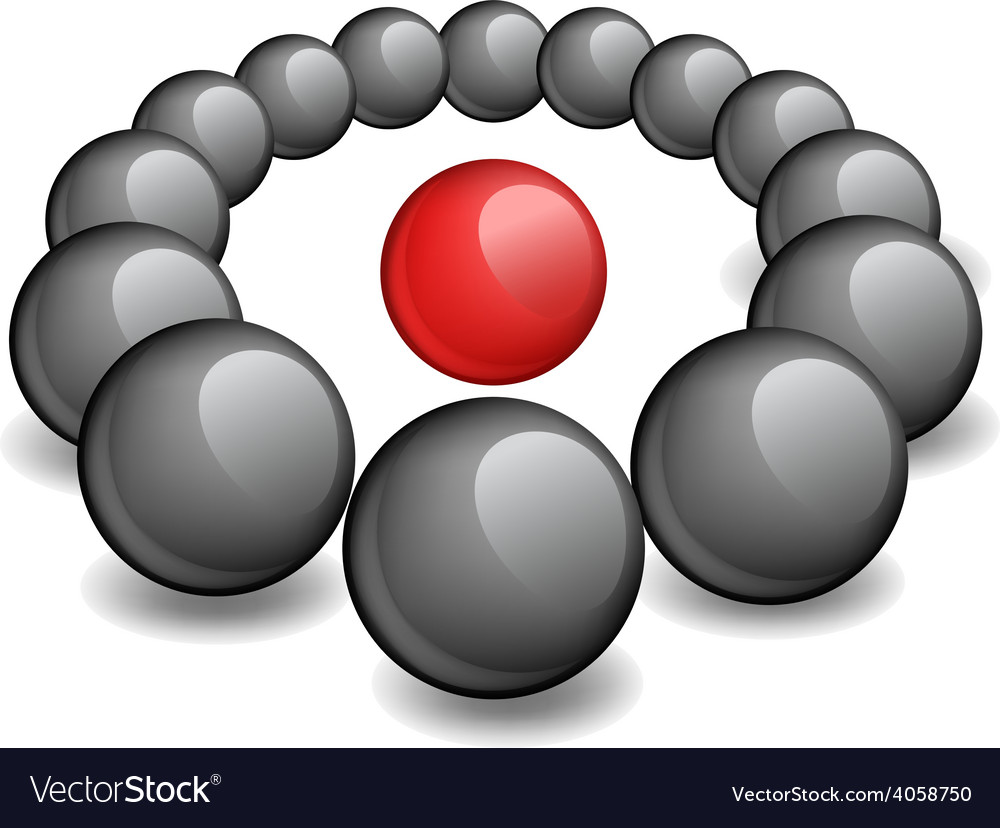 One red sphere is surrounded black vector