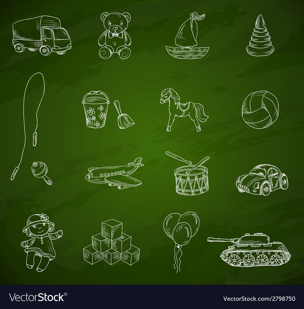 Toys chalkboard sketch set vector