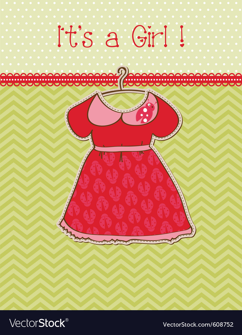Baby girl arrival card with place for your text vector