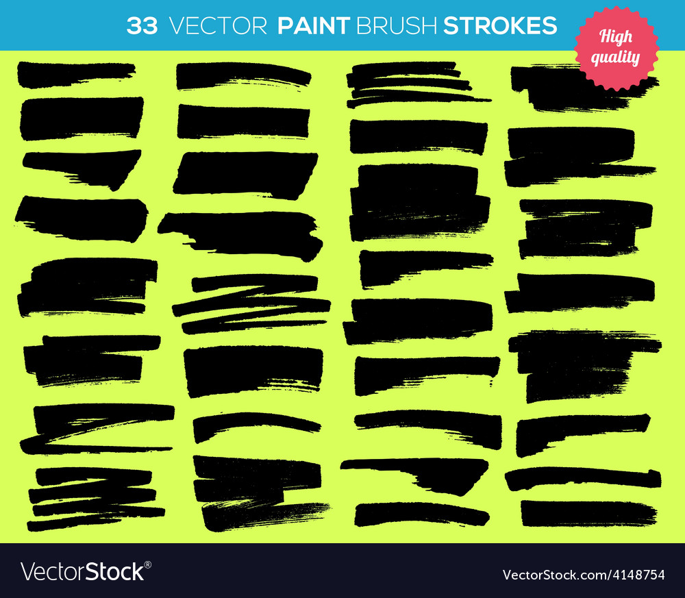 33 paint brushes ink strokes paint splash vector