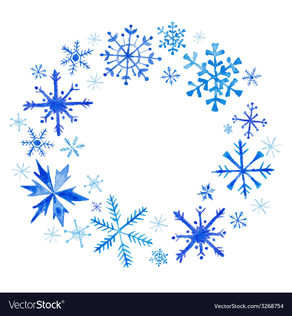 Winter christmas wreath - snowflakes in watercolor vector