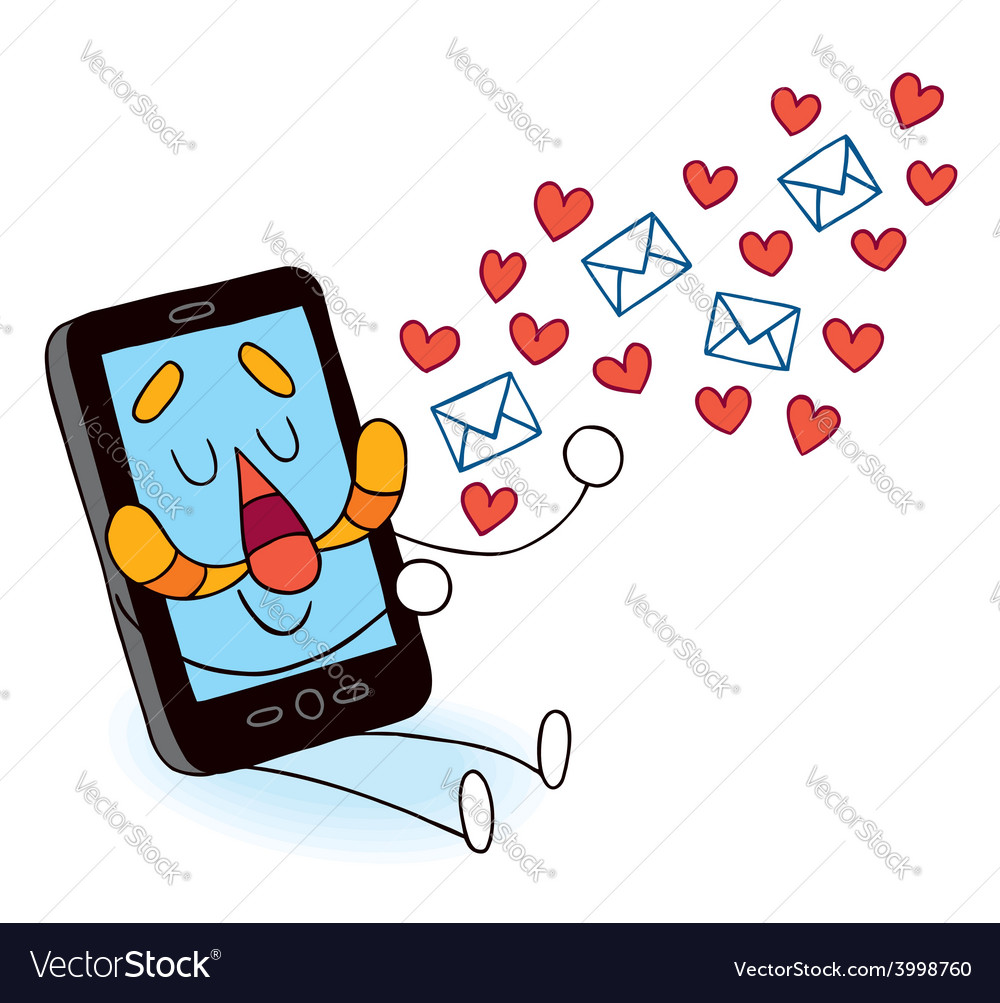 Cell phone sending love messages vector