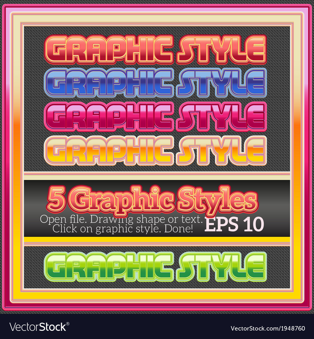 Set of beautiful glossy graphic styles vector