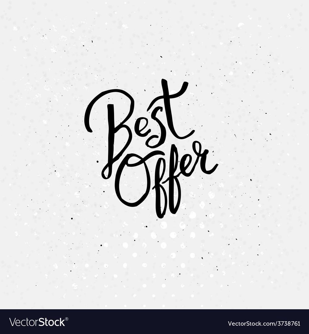 Handwriting design for best offer concept vector