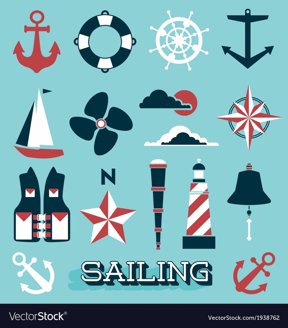 Sailing icons and symbols vector