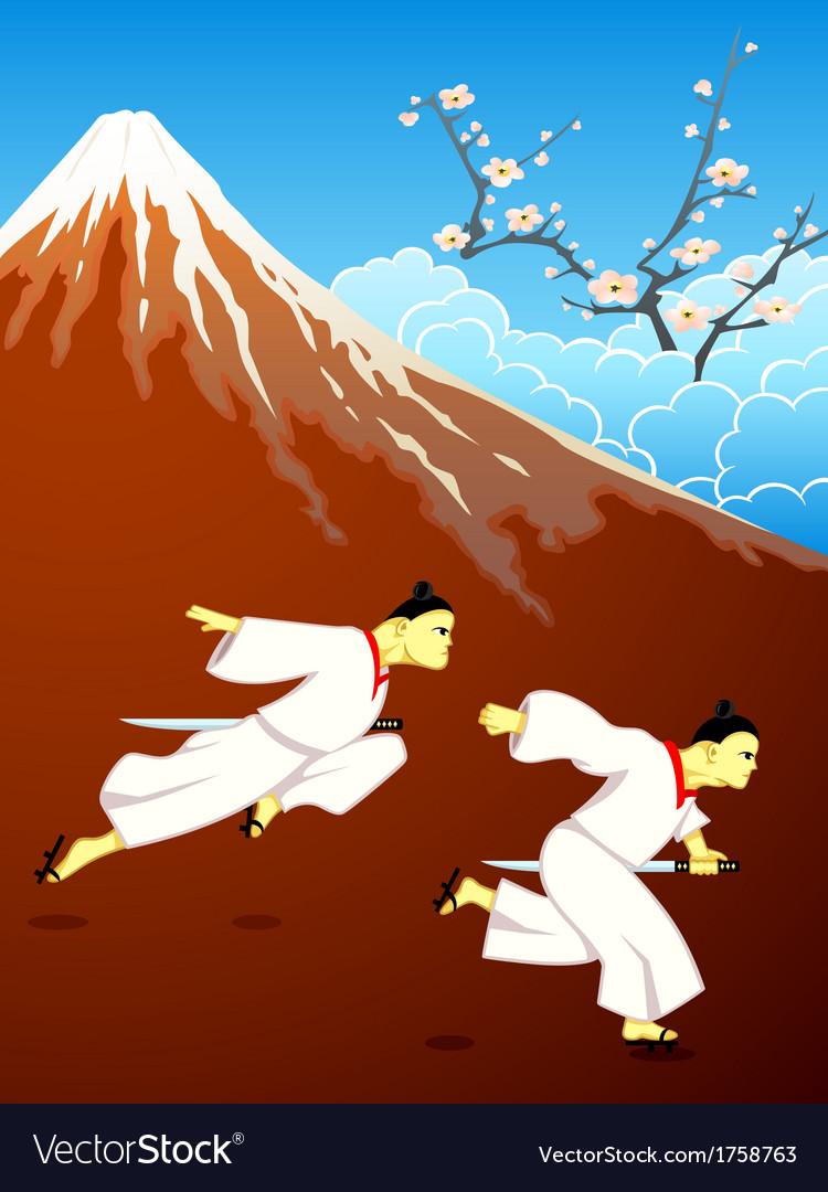 Running over japan vector