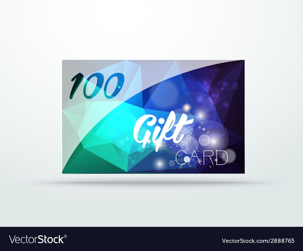 Blue glitter gift card with shine and price vector