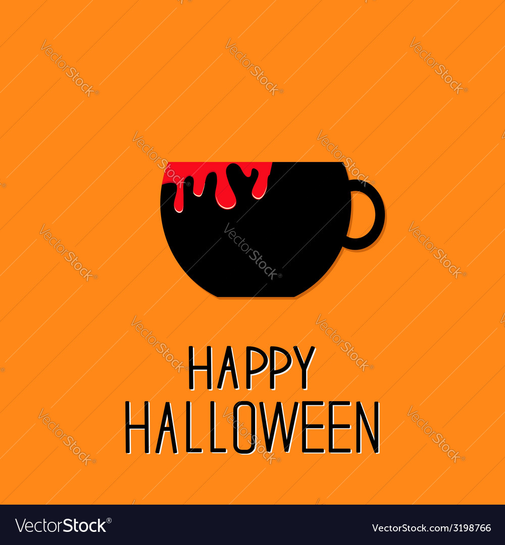 Black tea cup with red blood happy halloween card vector
