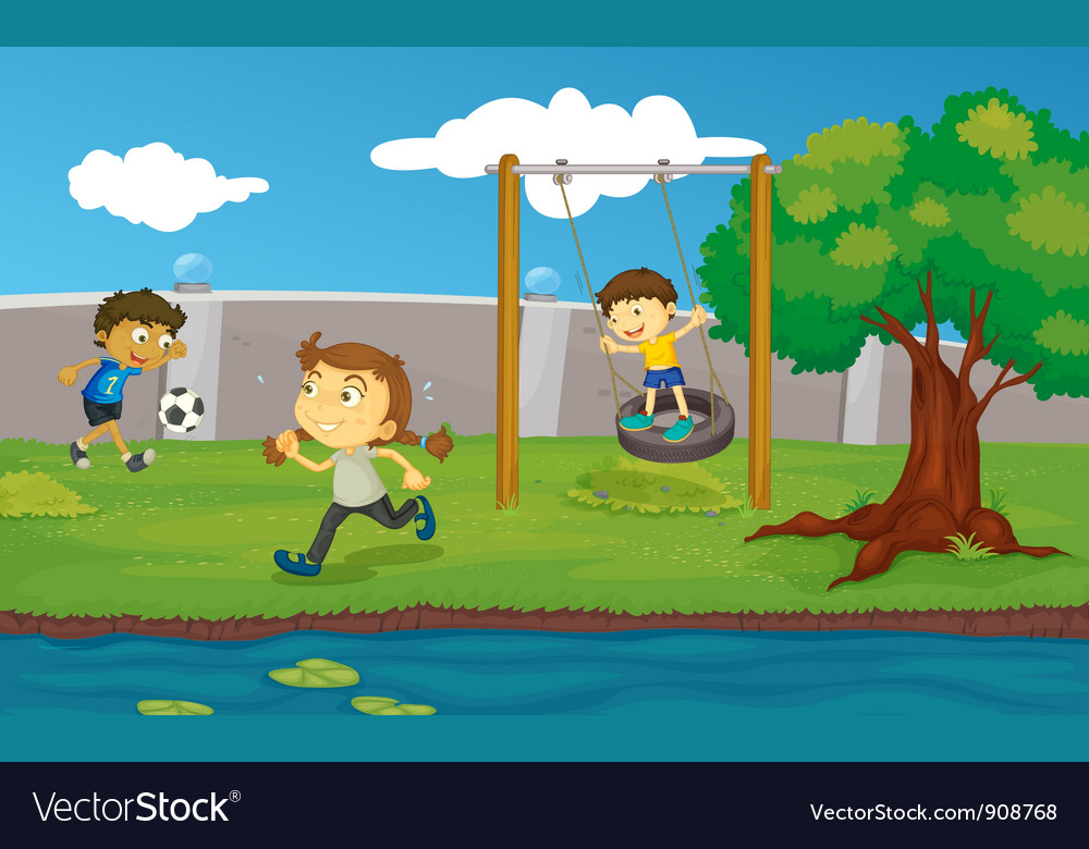 Kids in the park vector