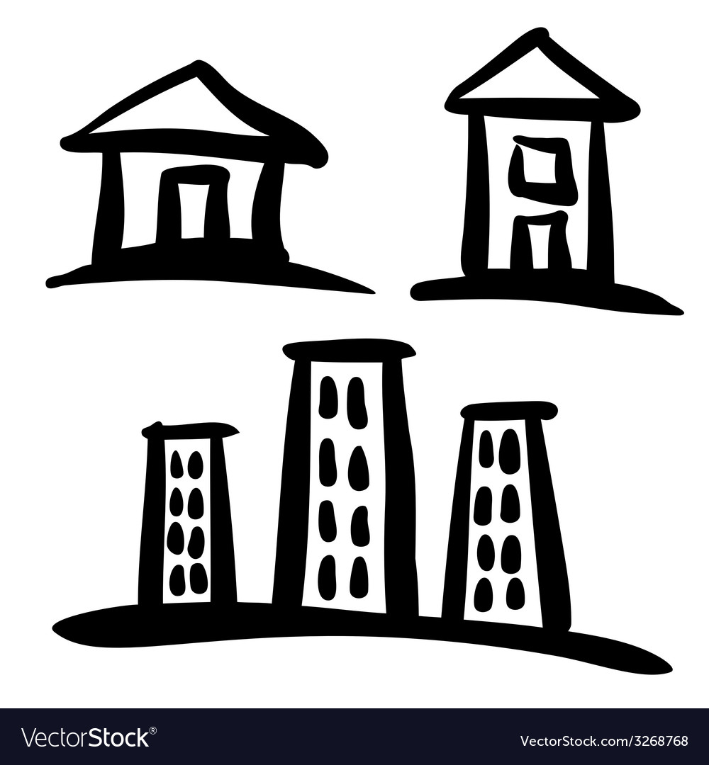 Set of house sketches vector