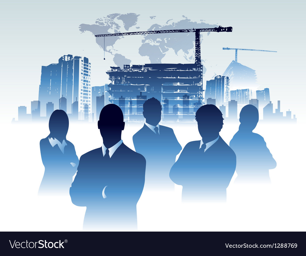 Businessman team in building office construction vector