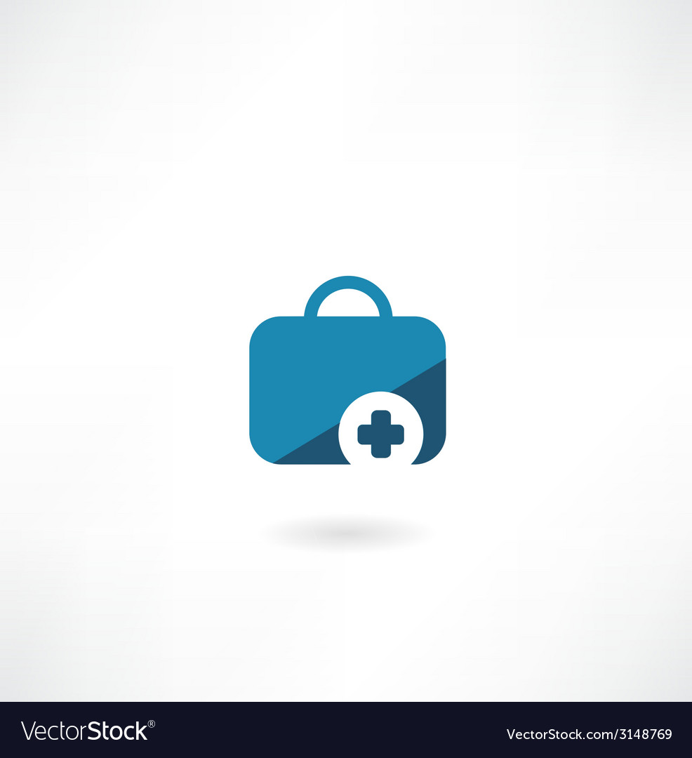 Suitcase with cross icon vector