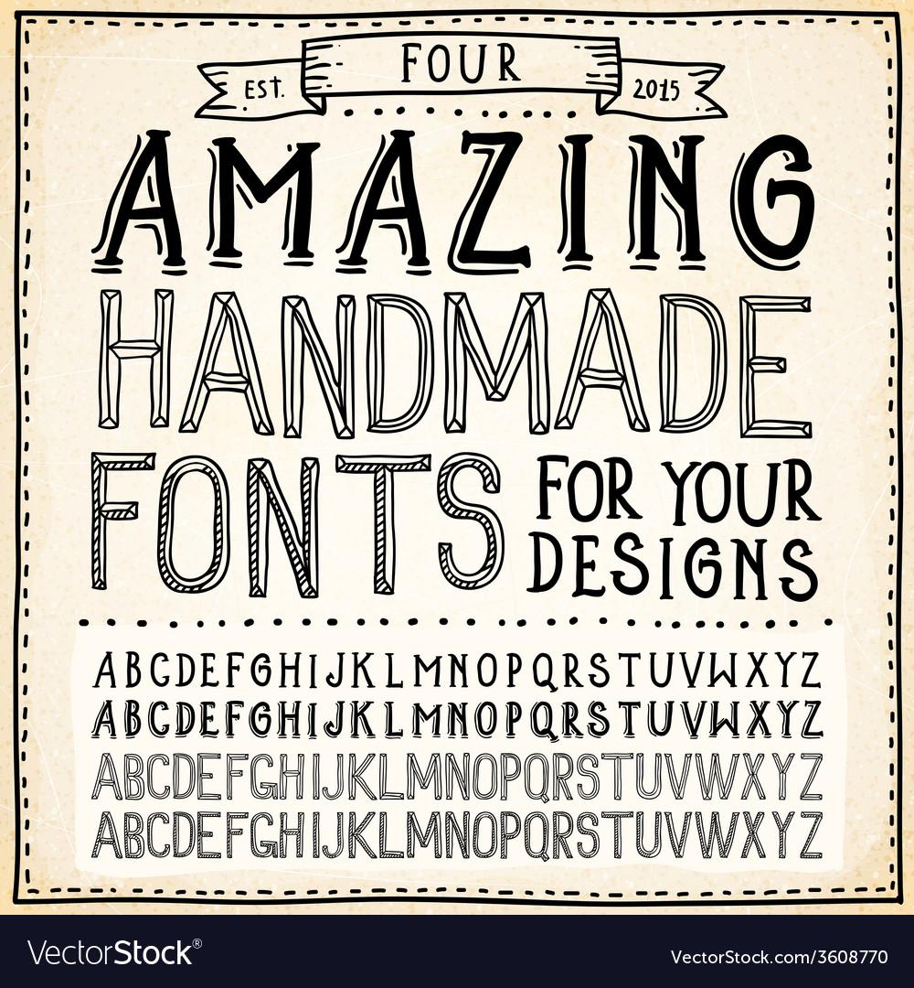 Handwriting alphabets hand drawn fonts vector