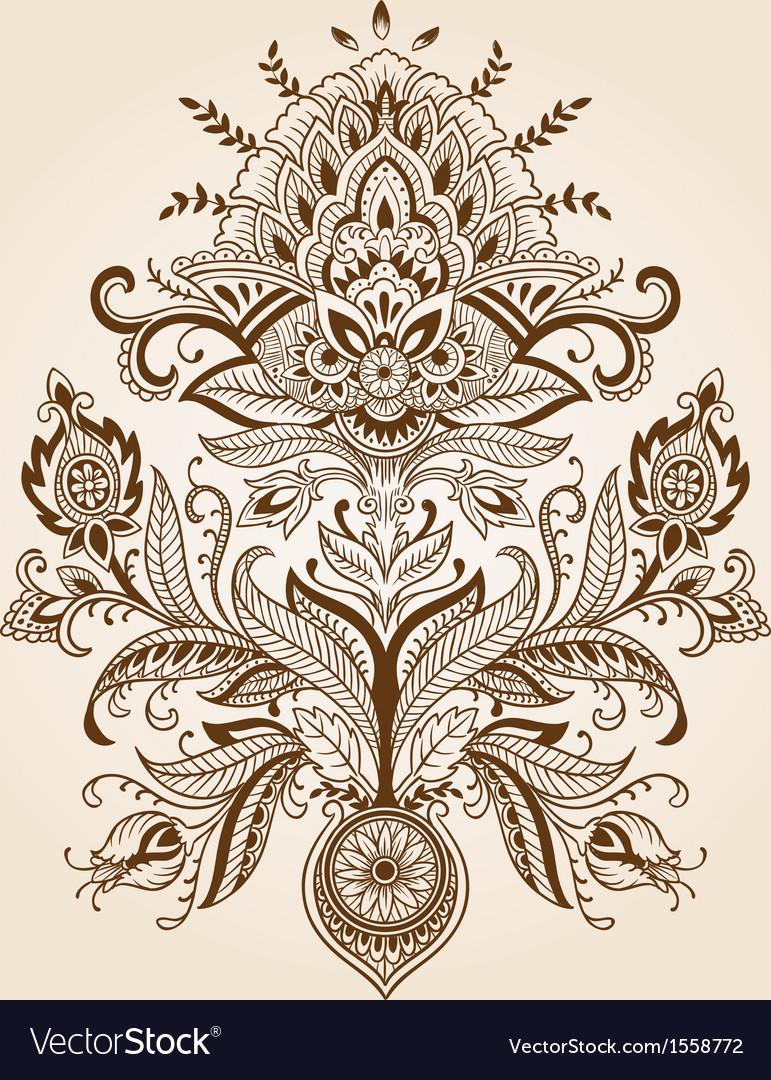 Henna paisley flower vector