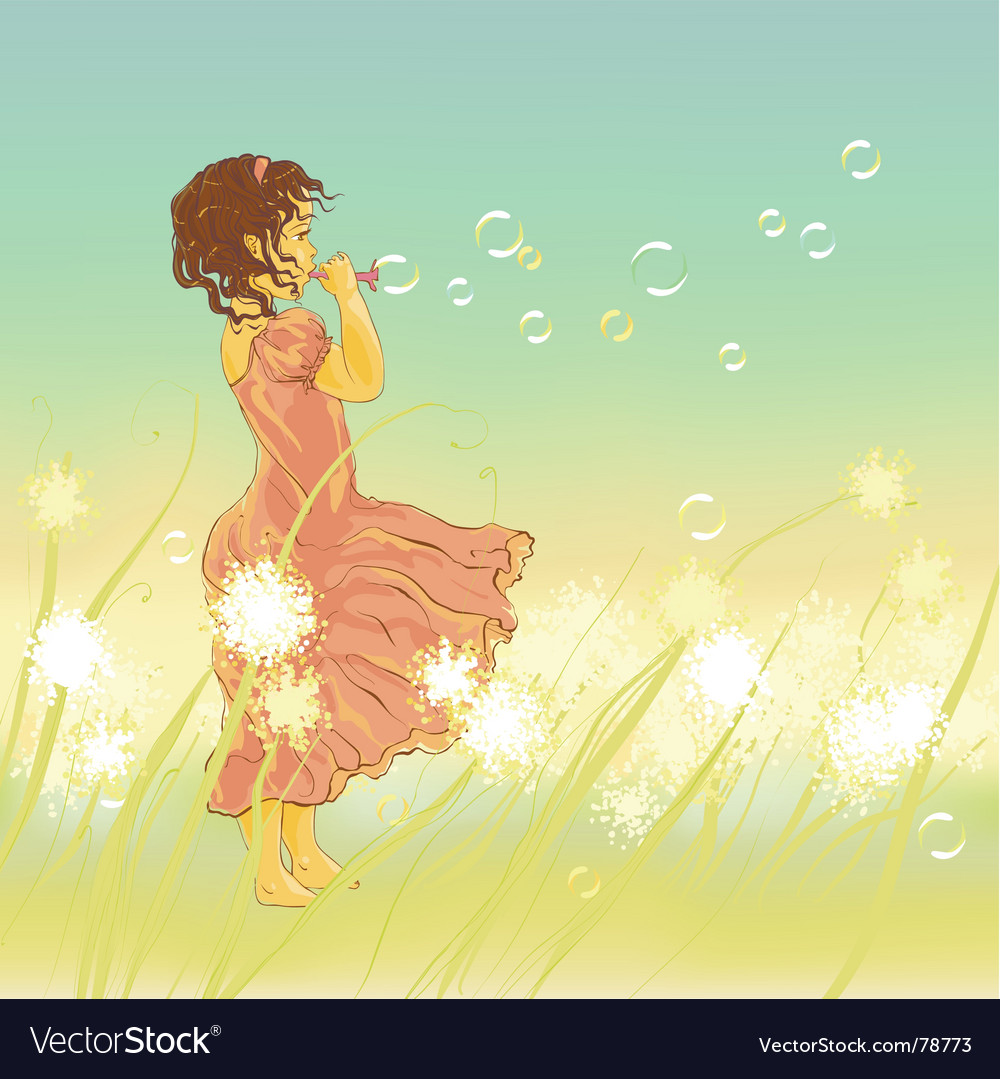 Little girl and soap bubbles vector