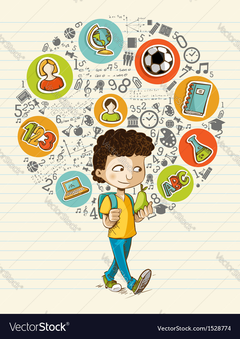 Back to school education icons colorful cartoon vector