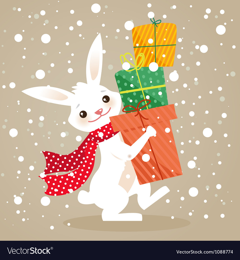 Bunny christmas vector