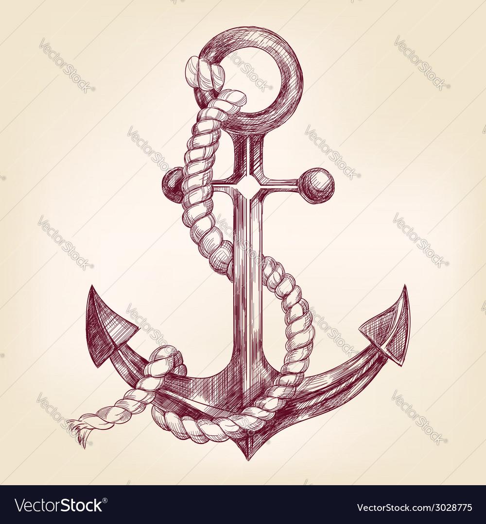 Anchor hand drawn llustration vector