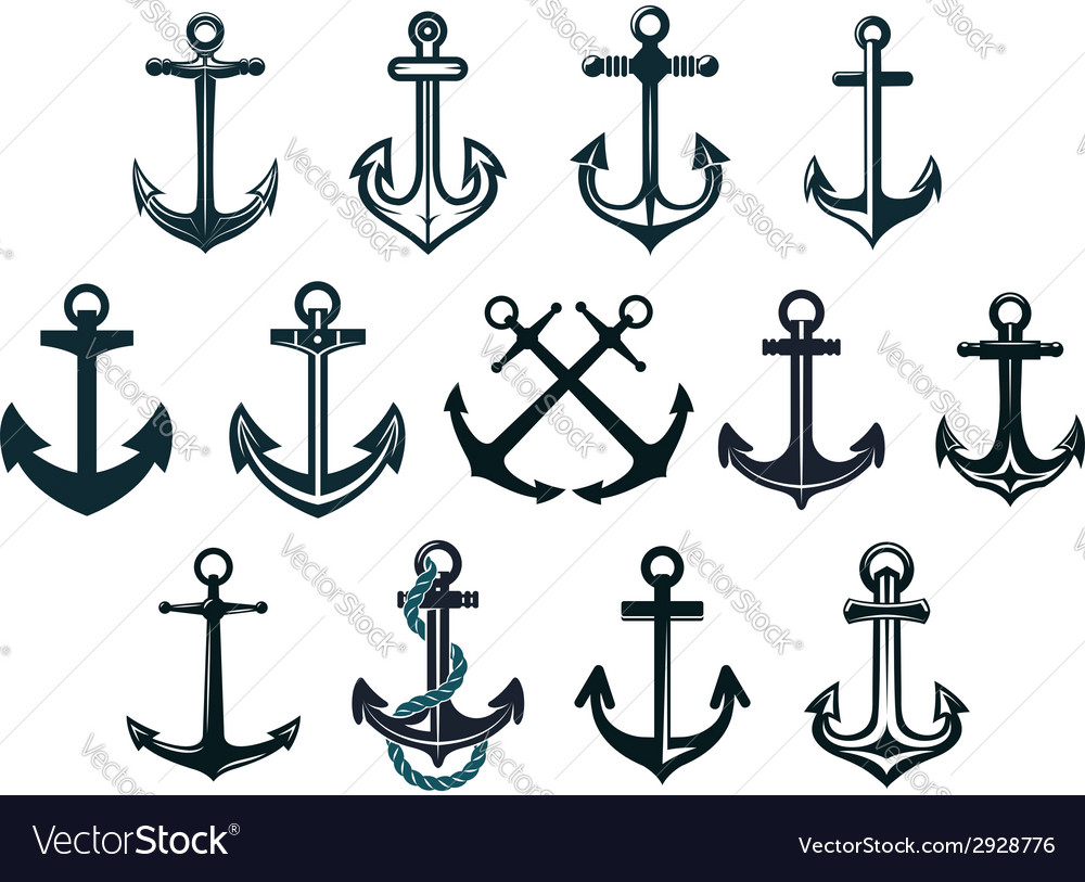 Vintage marine anchors vector