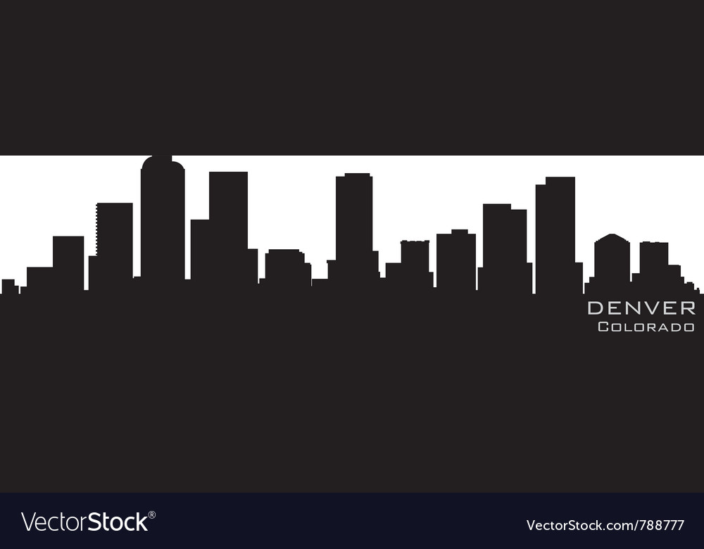 Denver colorado skyline detailed silhouette vector