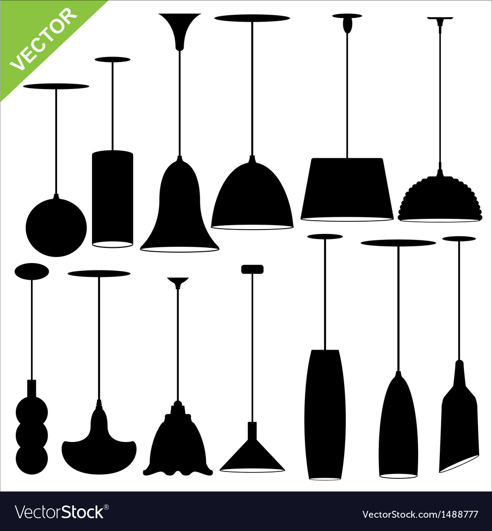 Lamp silhouettes vector