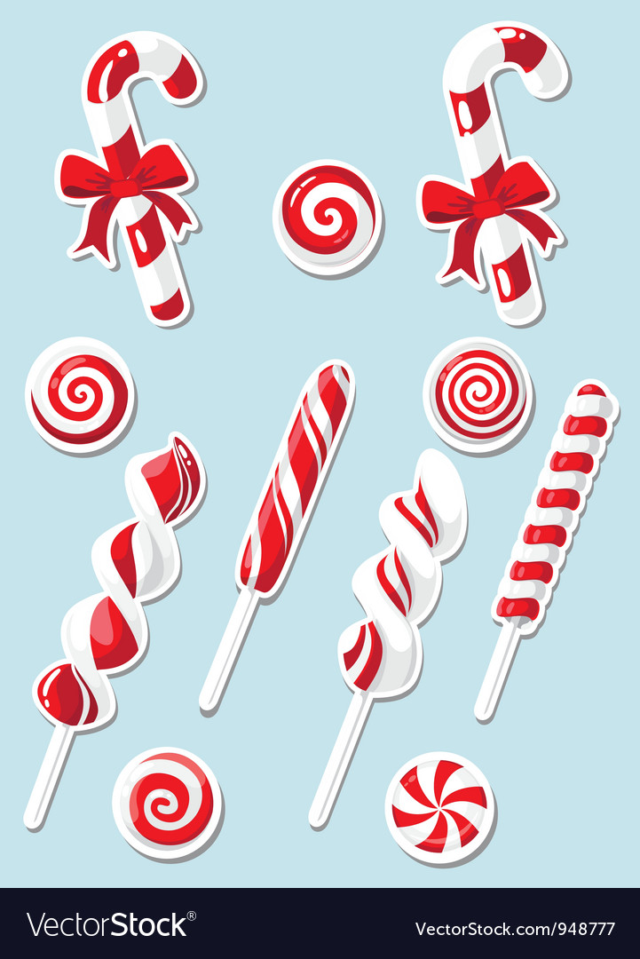 Set of christmas candy sticker vector