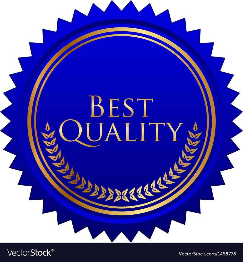 Blue seal gold laurels vector