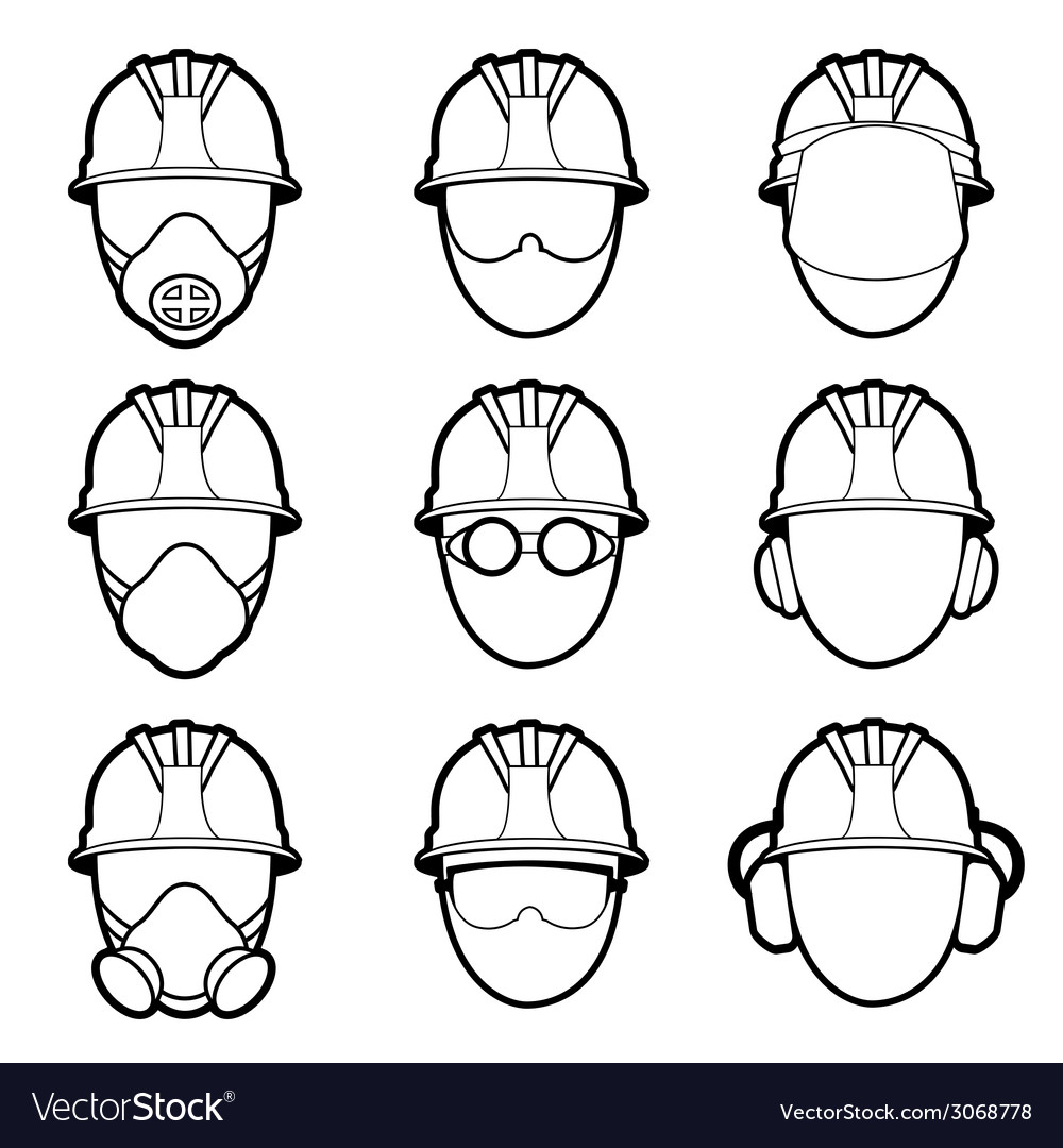 Human protective work wear icon set vector